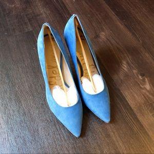 Brand-new blue suede heels